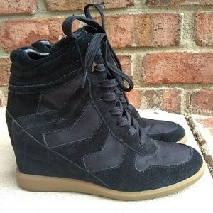 Sam Edelman Bennett Chevron Wedge Sneakers Black 8